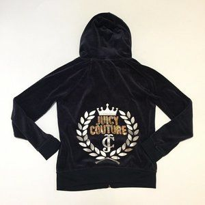 Juicy Couture Dark Blue Velour Zipper Track Jacket